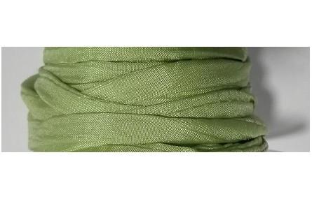 Cinta de seda Natural cosida 5-7mm verde claro